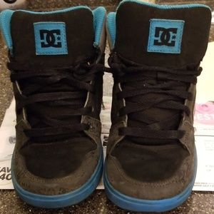 Youth size 4 DC shoes blue, gray, and black